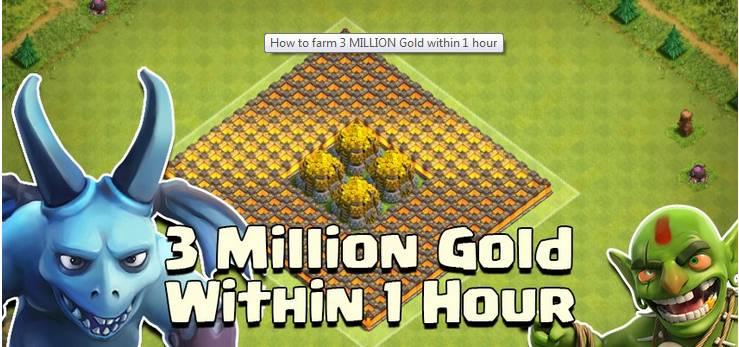 [Tip] Clash Of Clans - Tìm hiểu cách farm 3 triệu Gold trong vòng 1 tiếng