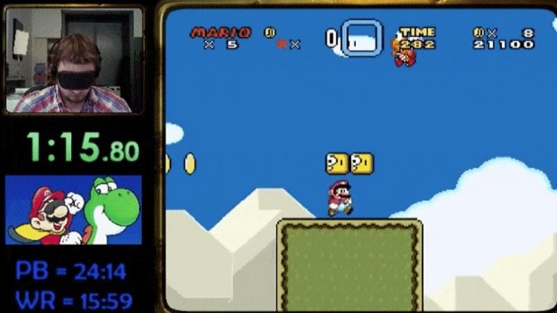Bịt mắt phá đảo Super Mario World trong vòng 14 phút