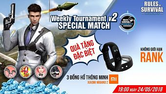 19h tối nay nhận ngay đồng hồ thông minh Xiaomi Miband 2 tại ROS Mobile Weekly Tournament