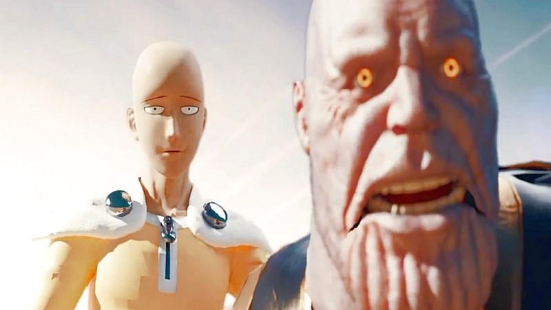 avengers infinity war, fanmade, iron man, marvel, thanos, thanos vs one punch man, thanos vs saitama, thor