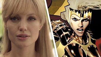Rò rỉ ảnh hậu trường Eternals, Angelina Jolie nhuộm tóc vàng, thướt tha trong tà váy trắng