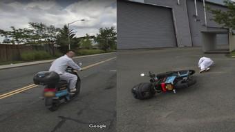"""Thanh niên bị xe Google Street View """"dí"""" đến nỗi lạc tay lái, ngã xe rồi còn bỏ của chạy lấy người"""
